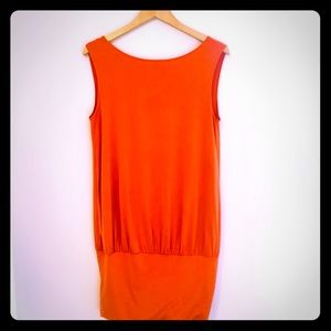 Orange summer dress with low back